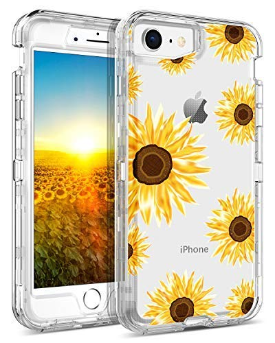 GUAGUA iPhone 8 Case iPhone 7 Case Clear Sunflower Flowers Floral Printed Three Layer Hybrid Hard Plastic Soft Rubber Cover Shockproof Protective Phone Cases for iPhone 7/8 Transparent Yellow