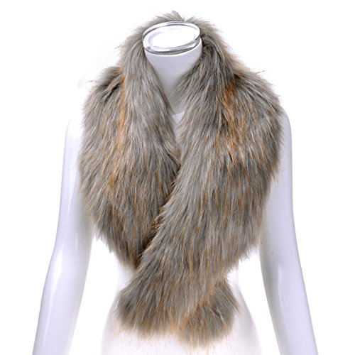 ZLYC Women Winter Faux Fur Collar Wrap Scarf Fashion Dyed Neck Shawl, (Time Warp Halloween Lights)