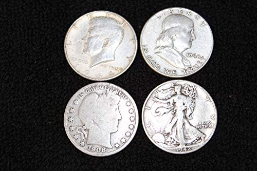 1892-1964 US Half Dollar Type Set: Barber, Walking Liberty, Franklin, Kennedy. 4 Silver Coins All VG to XF
