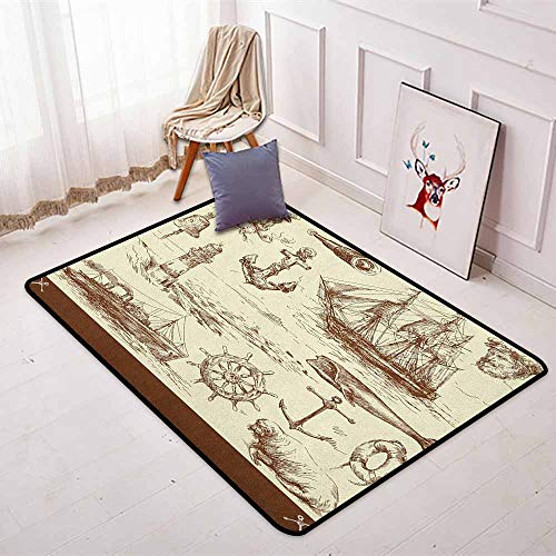 Marine Navy Captains Better Protection Oceanic Theme Retro Style Drawing Effect Framed Nautical Collection Kid Game Carpet W35.4 x L47.2 Inch Brown Cream