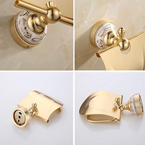 Ibnotuiy European Antique Space Aluminum Wall Mounted Toilet Paper Holder Luxury Ceramic Bathroom Waterproof Tissue Holders Gold by Ibnotuiy (Image #2)