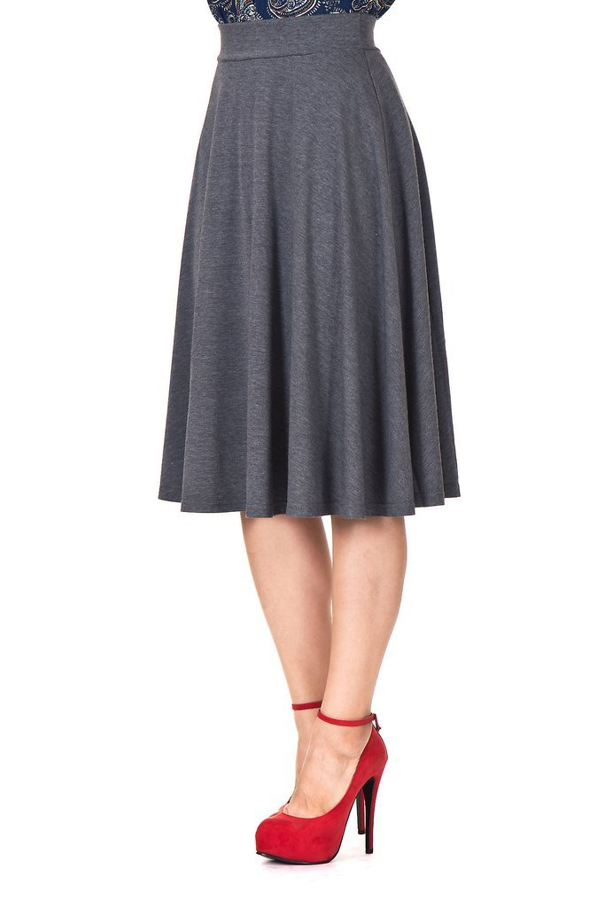 Dani's Choice Beautiful Flowing A-Line Flared Swing Midi Skirt (XL, Charcoal)