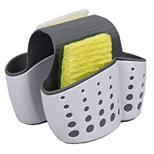 Home Basics Draining Dual Sink Saddle Sponge Holder Organizer for Double Sink, White/Grey