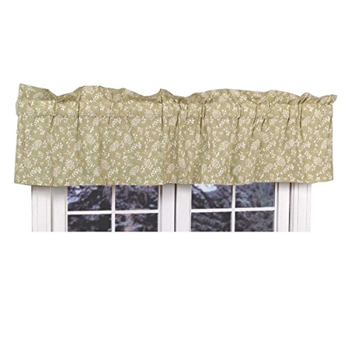 Renovator's Supply Valances Green Cotton Valance Chantelle 18″ H X 80″ W For Sale