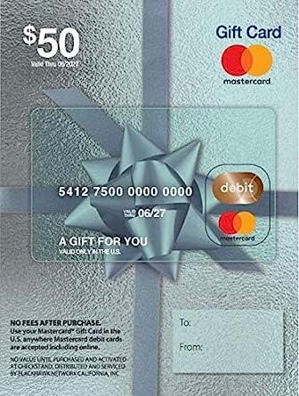 Amazon.com: Tarjeta de regalo de $50 Mastercard (más $4.95 ...