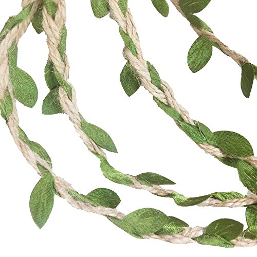 G2PLAYER 33 Feet Natural Jute Twine, Creative Burlap Rope 5MM Ribbon with Artificial Green Leaves, Perfect Braided Decorated Vine for Art & Craft, Home Packing Decoration, and any Party Décor