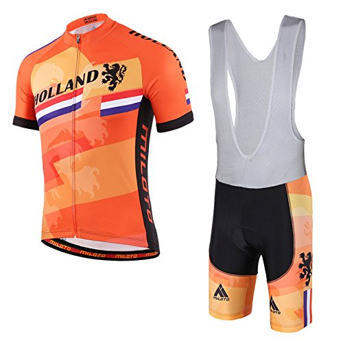vyesメンズサイクリングSuits Short Sleeve BIKER Jersey and Bib Shorts Reflective B07CP7FT6V Large|Holland Style Holland Style Large