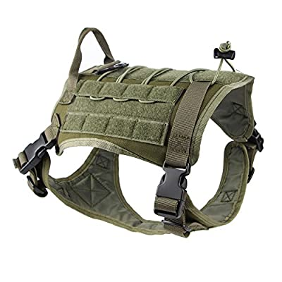 Anseahawk Tactical Dog Training Vest Harness Adjustable Service Molle Military Nylon Pet Dog Vest