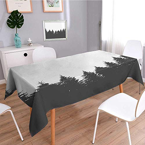 - SCOCICI1588 Square Tablecloth The Panorama of a Valley and a Misty of Pine Trees Egg Shell and Sage Green Perfect for Spring, Summer, Indoor, Outdoor Picnics or Everyday Use-W52 x L108