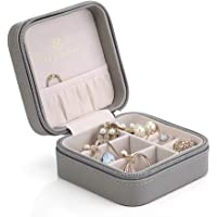 Vlando Small Faux Leather Travel Jewelry Box Organizer Display Storage Case for Rings Earrings Necklace (Grey)