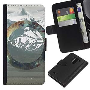 NEECELL GIFT forCITY // Billetera de cuero Caso Cubierta de protección Carcasa / Leather Wallet Case for LG G3 // Geometría de la montaña Nevado