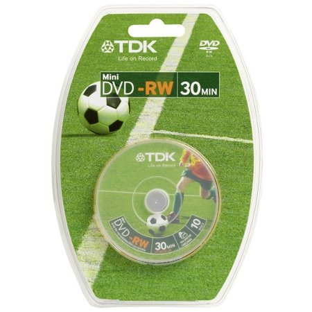 TDK DVD-RW 1.4Gb 8cm 30min Spindle 10 camcorder mini dvd 1.4 gb tdk dvdrw