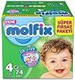 Molfix 3D Bebek Bezi Maxi 4 Beden, Super Fırsat Paketi 74 Adet