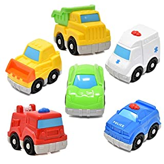 Number 1 in Gadgets Mini Toy Vehicles for Toddlers, 6 Pack Dump Truck Car Fire Truck Construction Police Ambulance Plastic Cars Play Kit Set