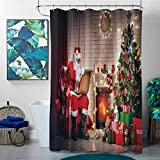 homecoco Shower Curtains for Bathroom Cream Santa,Old Santa Claus Sitting at Home at Christmas Night Reading a Letter Near The Tree,Multicolor,W69 x L90 Christmas Shower Curtain