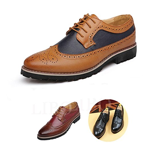 Gaorui Men Spring Fashion Lace up Eyelet Oxford Leather Nude Formal Business Party Shoe Brogue Yellow gO09R9