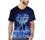 Camiseta Unisex De Verano En 3D De Impresión Azul Elefante Camiseta Loose V Cuello  De Manga a053a3759c142