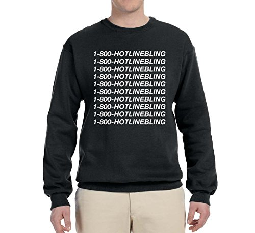 1-800-Hotline Bling | Unisex Crewneck Graphic Sweatshirt, Black, Large