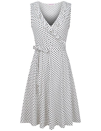 Dot Floral Fabric - MOOSUNGEEK 2018 Fashion Polka Dot Cross Womens Dress with Belt and Pockets WH BK Dot XL