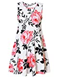 Jxstar Big Girls Vintage Floral Print Dress Pink Flowers Pattern Sleeveless Dress Vintage White Pink 160