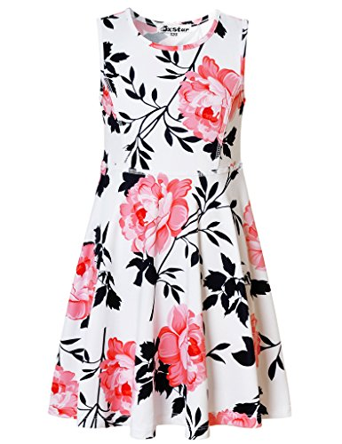 Jxstar Big Girls Vintage Floral Print Dress Pink Flowers Pattern Sleeveless Dress Vintage White Pink 160 by Jxstar