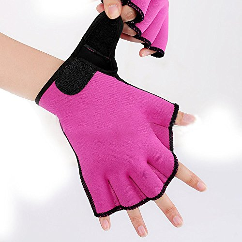 Efanr 1 Pair Training Aqua Fit Swim Webbed Gloves Aquatic Fitness Water Resistance Gloves for Women Men Children (Rose Red, M) (Aqua Glove)