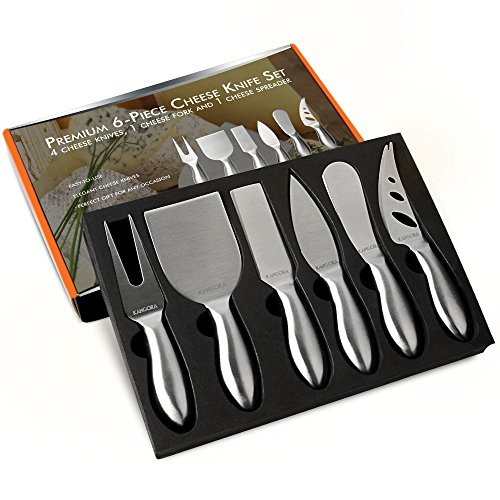 Kangora Cheese Knife Set (6-Piece Kit) Gourmet, Stainless Steel Kitchen and Dinner Hosting Use | Hard, One-Piece Design | Cheeses, Butter, Jam | Rust & Corrosion Resistant | Cheese Knife Gift Package