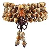 TUMBEELLUWA 6mm Stone Beads Bracelet for Women and Men, 108 Mala Prayer Beads Necklace for Unisex Elastic