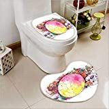 aolankaili Cushion Non-Slip Toilet Mat Ornate Skeletons with Egg and Flower Butter Calavera Fiesta Spooky with High Absorbency