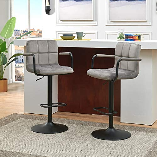 Duhome Elegant Lifestyle Barstools Height Adjustable Velvet Swivel Back Kitchen Counter Stools Bar Dining Chairs Set of 2, Grey