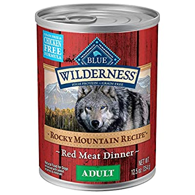 Blue Buffalo Wilderness Rocky Mountain Recipe High Protein Grain Free, Natural Adult Wet Dog Food, Red Meat 12.5-oz can (pack of 12)