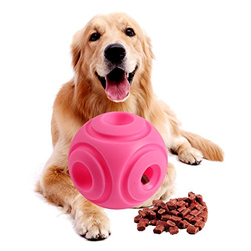 5 Inches Large Size Dog Treat Ball Dispenser for Large Dogs Made of Environmental and Non-Toxic Bite Resistant Material.