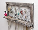 Rustic Wooden Wall Mount Jewelry Organizer for Earrings / Necklaces / Bracelets / Accessories