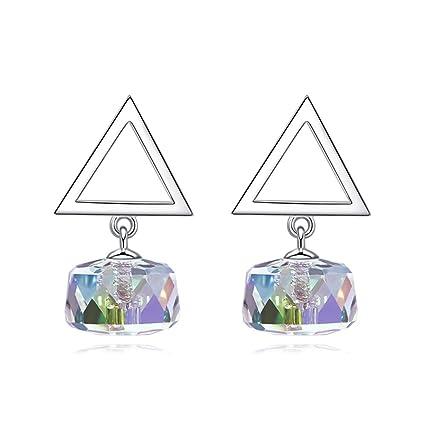 aa941b3a1701 VIWIV Aretes Triángulo Espárragos Azúcar Cristal Simple Adornos 925 Plata  Esterlina Moda Swarovski Elementos Decoración