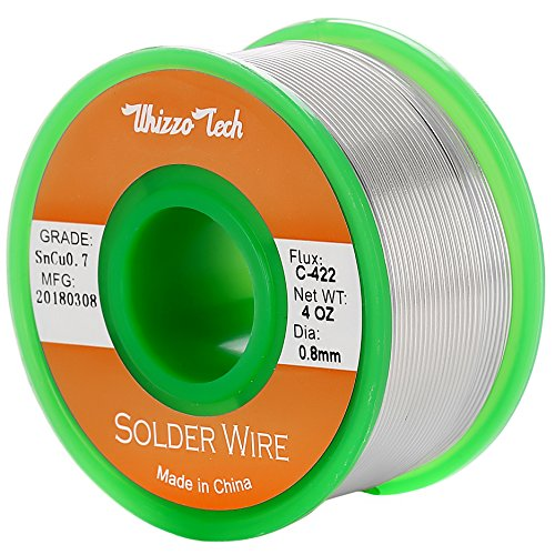 (Whizzotech Lead Free Solder Wire Sn99.3Cu0.7 with Flux Rosin Core for Electrical Soldering 4oz .032''/0.8mm)