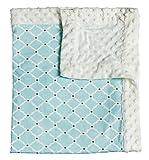 Everyday Blue Quatrefoil Patterned Minky Dot Blanket