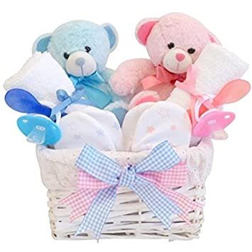 Angel twin baby gifts basket boy girl baby shower gifts for twins newborn twins