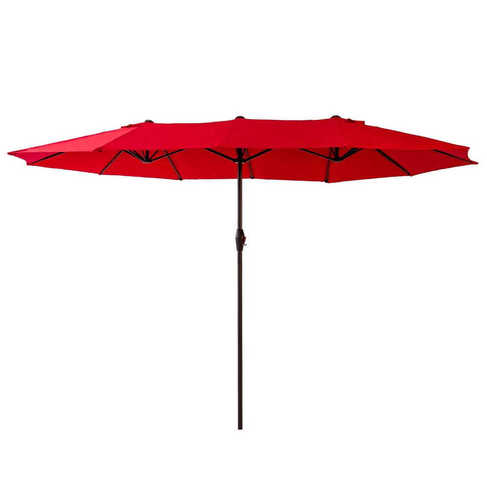 FLAME SHADE 15 Double Sided Twin Outdoor Patio Umbrella for Garden Terrace or Balcony Extra Large Market Style Rectangle, Red