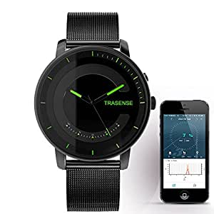 Trasense Men's Hybrid Smartwatch – Notification Reminder and Activity Tracker with Stainless Link Strap for IOS / Android (H03PRO-005)