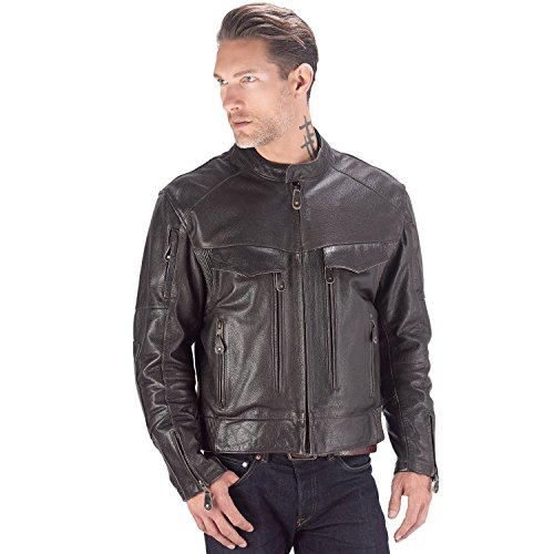 Padded Leather Motorcycle Jacket - 3