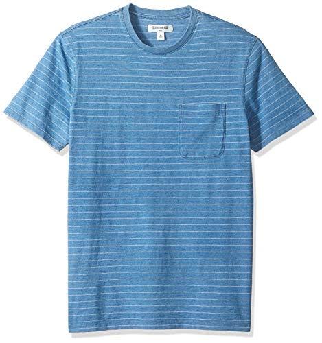 (Goodthreads Men's Short-Sleeve Indigo Crewneck Pocket T-Shirt, Light Narrow Stripe, Medium)