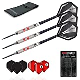 Red Dragon Phoenix: 25g - 90% Tungsten Steel Darts with Black & Silver Holographic Flights, Shafts, Wallet & Red Dragon Checkout Card
