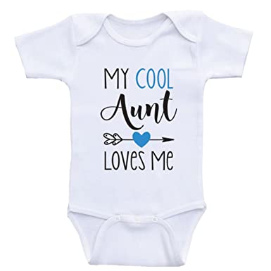 51be5d3cf Amazon.com  Heart Co Designs Aunt Baby Shirts My Cool Aunt Loves Me ...