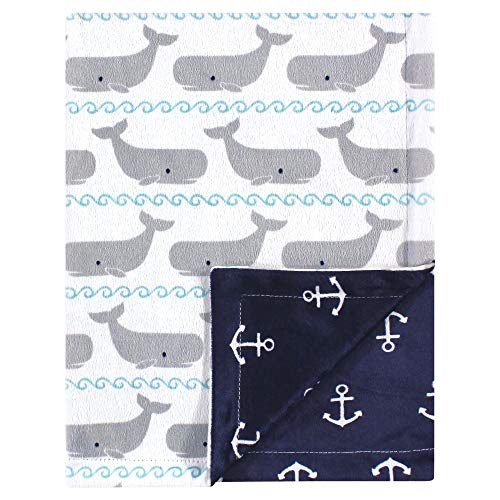 (Hudson Baby Reversible Mink Blanket, Whales, One Size)
