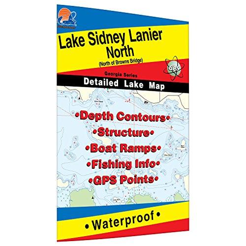Lake Sidney Lanier-North Fishing Map (North of Browns - North Lakes Map