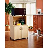 Simple and Classic Design Generic Microwave 2-door Kitchen Cart with Storage Large Open Shelf, Pine Finish