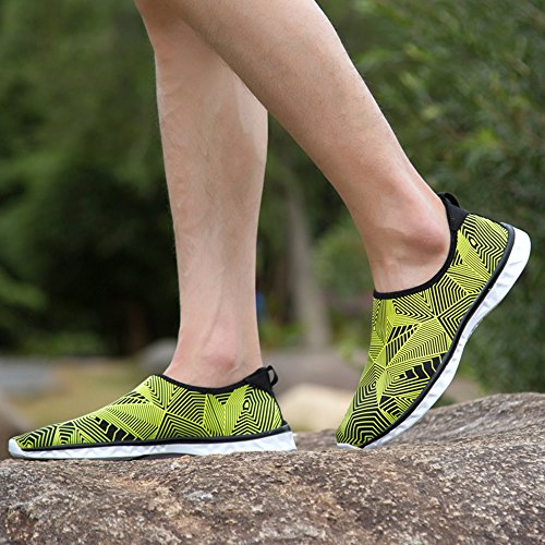 Unisex Sunjcs Quick Breathable Life Sports Daily Yellow Shoes Water Drying Shoes Casual Beach Aqua for Swim Walking dxwgwqt