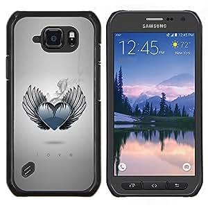 LECELL--Funda protectora / Cubierta / Piel For Samsung Galaxy S6Active Active G890A -- Corazón del amor Alas Ángel monocromático de humo --