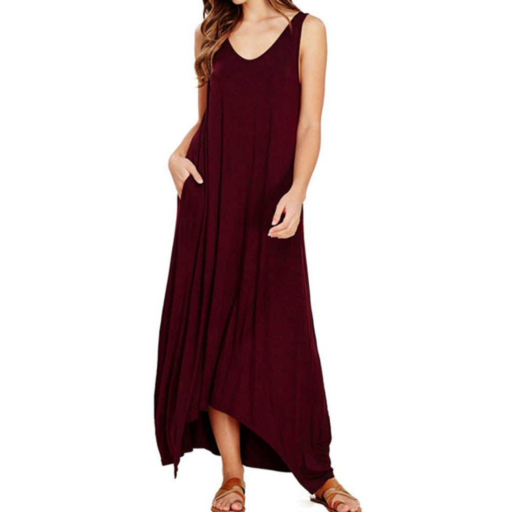 Kaitobe Women's Dresses Solid Ruched Long Maxi Dresses Pocket Swing A-Line Dress Beach Sundress Evening Party Cocktail Wine