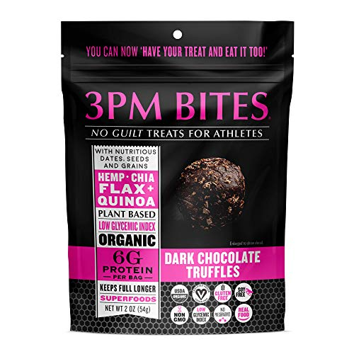 3PM BITES TRUFFLES - USDA Organic, Plant Based, Vegan, Paleo, Non-GMO, No Added Sugar, Superfoods and Grains - Great tasting on the go snack treats for everyone (Dark Chocolate Truffles 6 Bags)